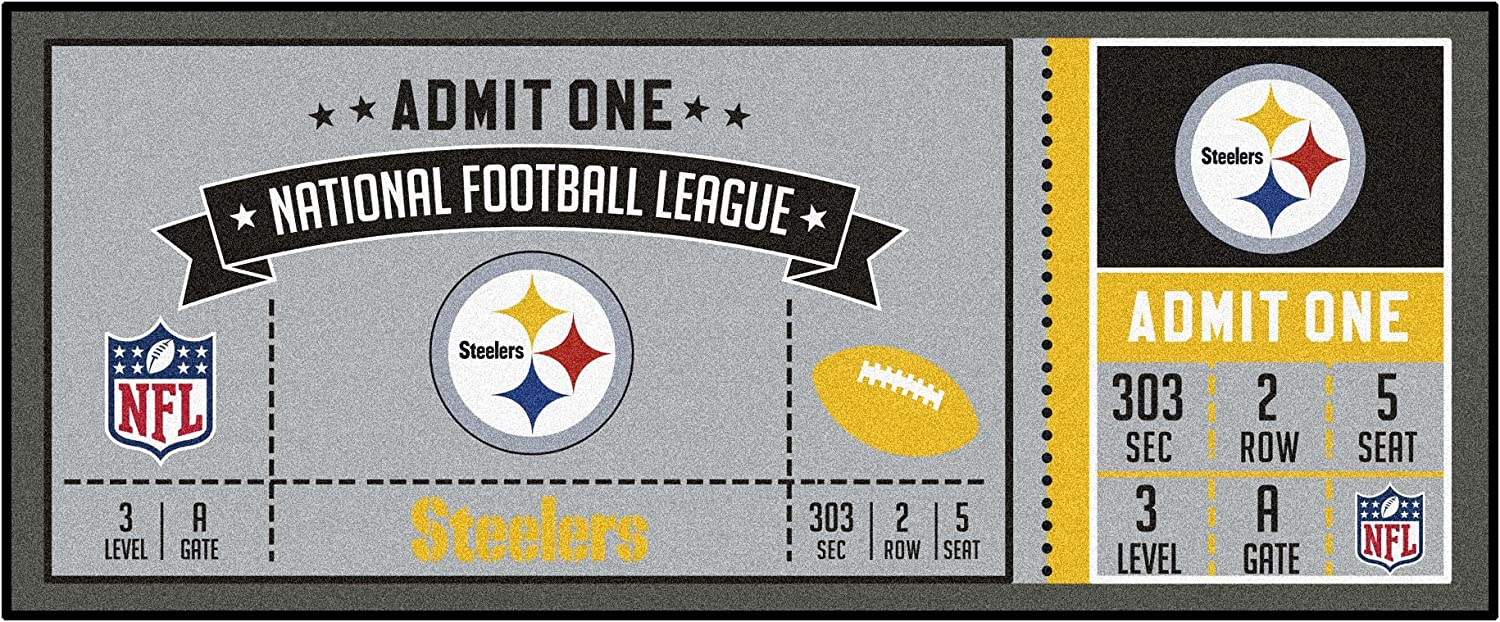 FANMATS NFL Pittsburgh Steelers NFLPittsburgh Steelersticket Runner, Team color, One Size