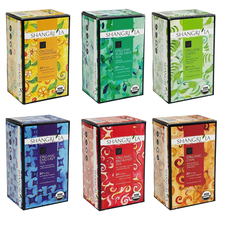 Shangri La Tea Company Organic [正規販売店] Bags Variety Pack 6 Assor 格安 Of