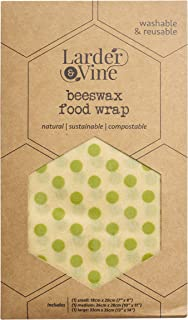 Beeswax Food Wraps | Reusable, Eco-Friendly, Sustainable | Assorted 3 Pack - 1 Small, 1 Medium, 1 Large … (Go Green Polka ...