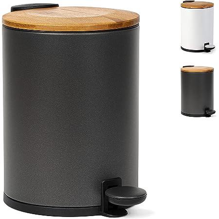 Kazai Poubelle de salle de bain en bambou | Système d'abaissement automatique et antidérapant | 3 litres | Noir