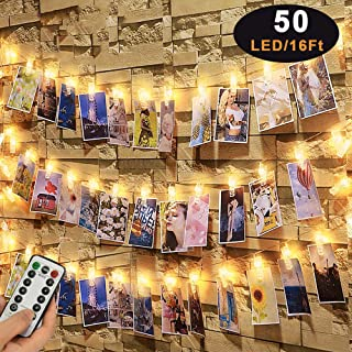 Caprier Luxury Photo Clips String Light, 50 LED Big Clips, Dimmable 8 Modes with Timer, USB or Battery Powered, Dorms Decoration, Photo String with Clips Hanging Polaroid, Teenage Girl Gifts