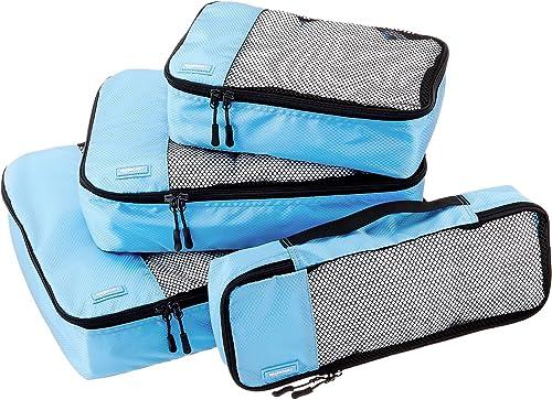 Amazonbasics Packing Cubes Travel Pouch Travel Organizer Small Medium Large And Slim Sky Blue 4 Piece Set