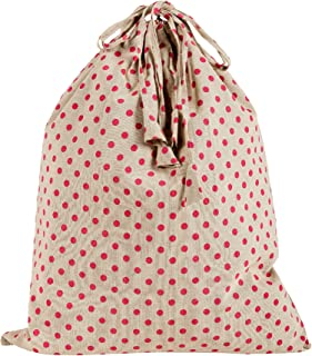 KANYOGA Cotton Polka dots Printed Multipurpose Travel Laundry Wash Bag for Used Clothes (Beige & Magenta-38 L x 38 W cm)