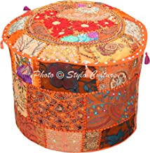 Stylo Culture Indian Floor Pouf Cover Round Patchwork Embroidered Pouffe Ottoman Cover Orange Cotton Floral Traditional Fu...