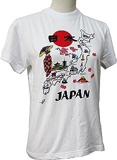 日本のお土産 Tシャツ  地図舞妓(白) 【T-shirt/Chizumaiko(W)】 (M)