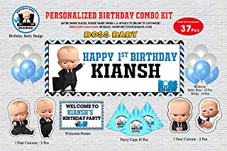 WoW Party Studio Personalized Boss Baby Theme Birthday Party Supplies with Birthday Boy/Girl Name - Combo Kit (37 Pcs)