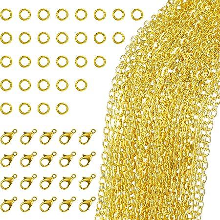 33 Pies de Collar de Cadena de Enlace Dorado con 30 Anillas Abierta y 20 Piezas de Cierres de Langosta para Fabricación de Joyería DIY (1,5 mm)