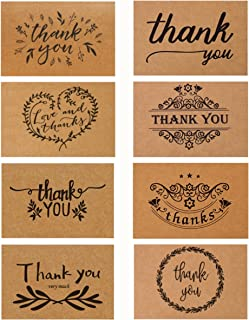 Thank You Cards with Envelopes, SD 40 Pack Brown Kraft Paper Greeting Cards for Wedding, Baby Showers, Birthday, Business - Kraft Paper Cards and Brown Kraft Envelopes with Thank You Stickers, 4