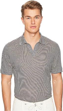 eleventy Fine Stripe Linen Polo