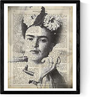 Frida Kahlo Poster with The Definition of Art in Spanish. Print of The Mexican Painter Size 11''x17''