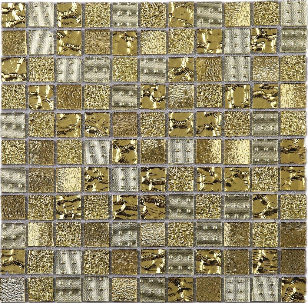 - TGEMG-02 1x1 Square Gold Glass Mosaic Tile Sheet-Kitchen And Bath