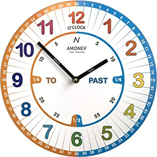 Amonev VS1 Time Teacher clock Children Wall Clock is a Easy to Read clock with Silent movement. A, 30cm Diameter