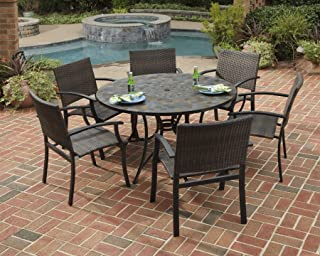 Stone Harbor Black 7Piece Dining Set with Table & 6 Newport Arm Chairs by Home Styles
