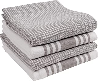KAF Home Set of 4 Centerband and Waffle Flat Kitchen Towels | Set of 4 18 x 28 Inch Absorbent, Durable, Soft, and Beautiful Kitchen Towels | Perfect for Kitchen Messes and Drying Dishes (Drizzle)
