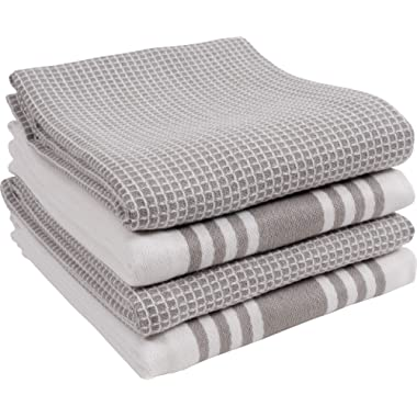 KAF Home Kitchen Towels, Set of 4 Absorbent, Durable and Soft Towels   Perfect for Kitchen Messes and Drying Dishes, 18 x 28 – Inches, Drizzle