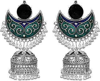 184879ce8 muccasacra Multicolour Meenakari Beads Oxidized German Sterling Silver Stud  Earrings for Women