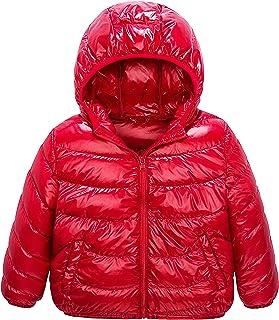 IKALI Boy Girl Packable Down Jackets, Spring Hood Coat, Lightweight/Water-Resistant 6-8Y