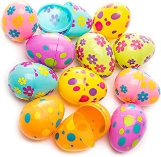 Kicko Printed Pastel Plastic Surprise Eggs - 3 Inches Assorted Colorful Eggs with Pattern - 1 Dozen - Party Bag Stuffer, Rewards - Cool and Fun Reusable Eggs