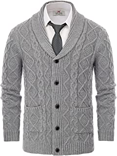 PJ PAUL JONES Men's Shawl Collar Cardigan Sweaters Cable Knitted Aran Sweater with Buttons