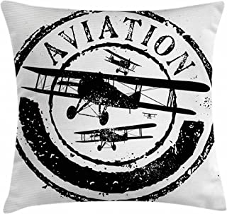 Ambesonne Vintage Airplane Throw Pillow Cushion Cover, Grunge Style Stamp Design with Word Aviation and Airplane Silhouettes, Decorative Square Accent Pillow Case, 16