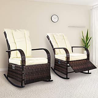 SCYL Color Your Life Set of 2 Indoor & Outdoor PE Wicker Rocking Chair Porch Garden Lawn Deck Auto Adjustable Rattan Reclining chiar Patio Furniture w/Water-Proof Cushion