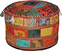 Marubhumi Traditionele decoratieve Ottomaanse comfortabele vloerkussens kruk met versiering met borduurwerk & patchwork, 5...