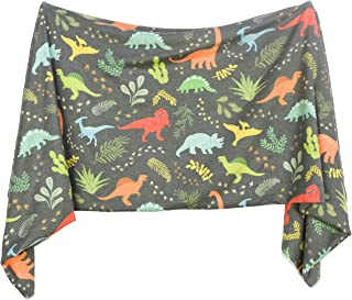 Extra Soft Knit Swaddling Receiving Blanket Jurassic Tracks by Village Baby