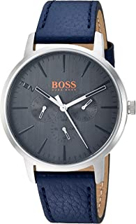 HUGO BOSS Orange Men's 'Copenhagen' Quartz Stainless Steel and Leather Casual Watch, Color:Blue (Model: 1550066)