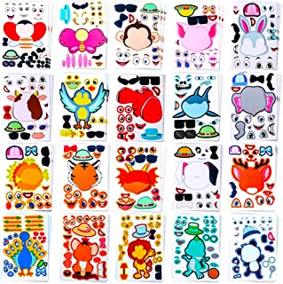 Sinceroduct 60 PCS Make Your Own Stickers 20 Designs Animals Make-a-Face Stickers for Kids