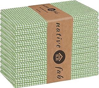 Native Fab Houndstooth Vintage Cloth Dinner Napkins Set of 12 Cotton 18x18 Soft Absorbent Restaurant Hotel Quality - Everyday Easy Care Washable Wedding Dinner Napkins Bulk - Lemon Green
