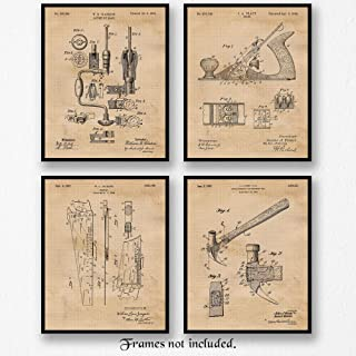 Original Woodworking Tools Patent Poster Prints, Set of 4 (8x10) Unframed Photos, Wall Art Decor Gifts Under 20 for Home, Office, Garage, Man Cave, Carpenter, College Student, Teacher, Handmade Fan