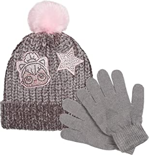 L.O.L. Surprise! Grey Chenille Knit Hat with Pink Rhinestone Sewn on Patches and Pink Pom-Poms & Matching Stretchable Magic Gloves set