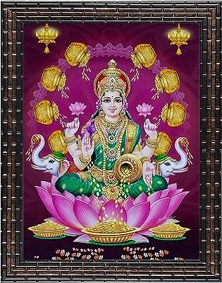 Indianara Set of 3 Ashtalakshmi Framed Painting (3461GB) without glass 6 X 13, 10.2 X 13, 6 X 13 INCH