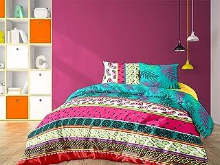 CALITEX Pastel Colour 3-Piece Bedding Set, 240 x 220 cm, 100% Cotton, Multi-Colour, 240 x 220 cm