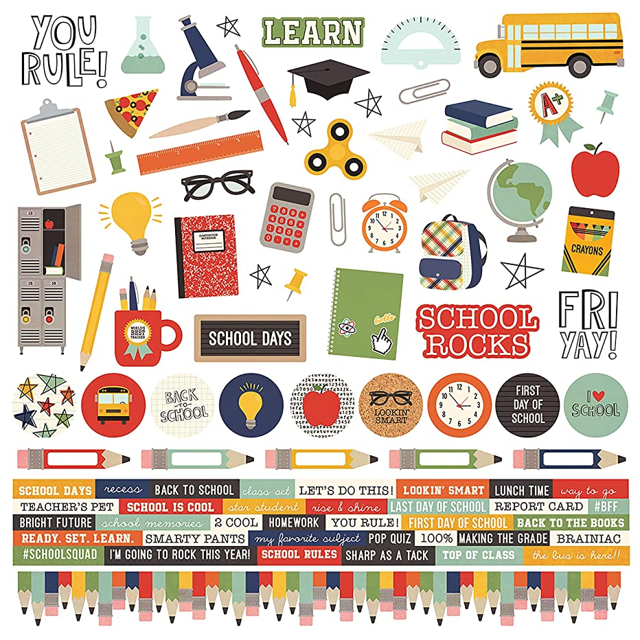 Simple Stories SCH10413 Simple Sets School Rocks! Cardstock Stickers 12