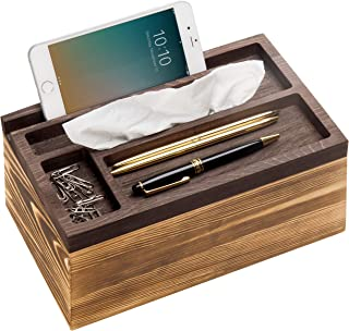 MyGift Rustic Wood Tissue Box Cover with Desktop Organizer Tray