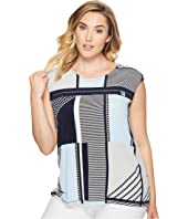 Calvin Klein Plus - Plus Size All Over Printed Zipper Top