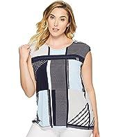 Calvin Klein Plus - Plus Size All Over Printed Zipper Top