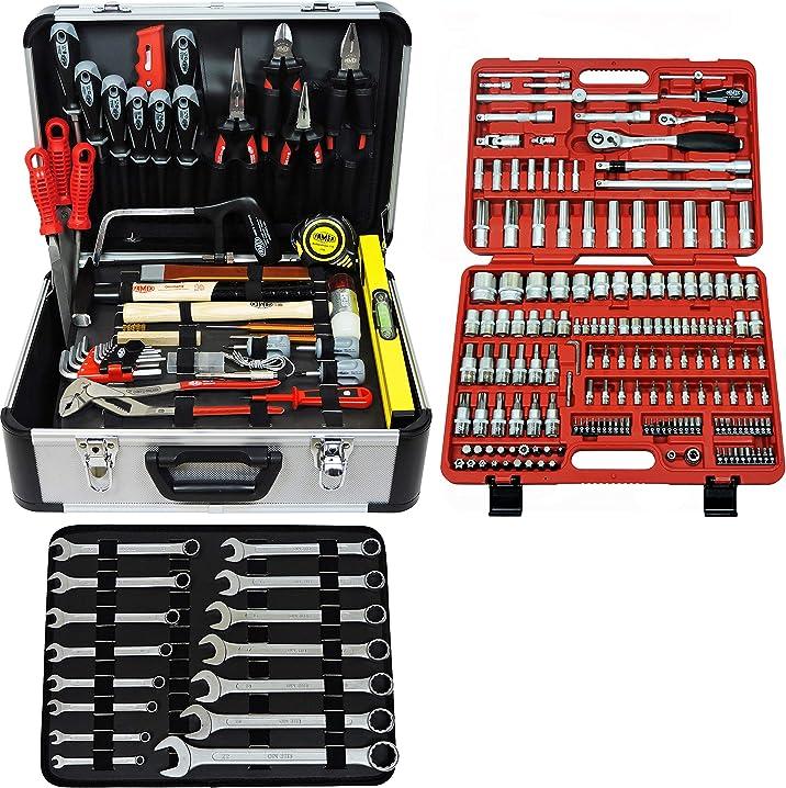 Cassetta degli attrezzi famex 716-09 , set completo, alta qualità, con set di chiavi a tubo 173 pezzi
