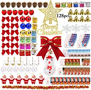 Outgeek 128PCS Christmas Tree Ornaments, Xmas Tree Hanging Ornaments Shatterproof Assortments Decor for Christmas Holidays Party Trees Decorations