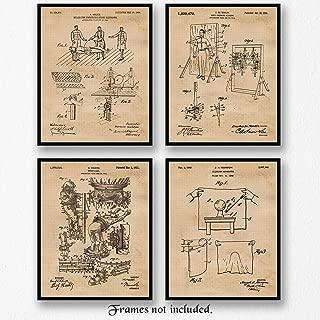 Original Magic Tricks Player Patent Poster Prints, Set of 4 (8x10) Unframed Photos, Great Wall Art Decor Gifts Under 20 for Home, Office, Shop, Garage, Man Cave, Student, Teacher, Magic & Movies Fan