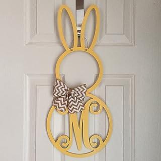 Monogram Bunny Door Hanger - Spring Door Hanger - Bunny Initial Wreath - Monogram Easter Bunny Wreath - Spring Door Decoration - Wood Hanger