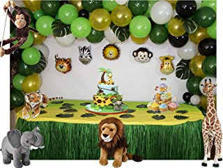 Longlastix Jungle Safari Party Theme Balloons 165-Piece Kit with Hand Pump Tie Tool Set-Baby Shower Decorations,24 Tropical Rainforest Birthday Decor Palm Leaves, Assorted Decorative Animal Balloons