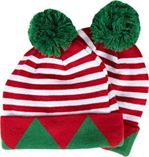 Christmas Beanie Hat - 2-Pack Santa Elf Pom Pom Cuffed Fold Beanie, Red Green and White, Adults