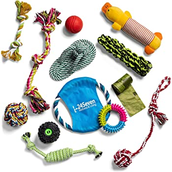 24Seven Wellness and Living Puppy Toys for Teething Small Dogs-Bundle of Chew Toys-Tug Rope Toys-Frisbees-Plush Squeaky No Stuffing Toys-Bones and Balls-Fun Dog Toy Value Packs for Small-Medium Dogs