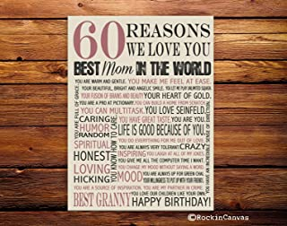 60th Birthday Present, Reasons we love you, 30th, 40th, 50th, 70th, 80th, 90th, Custom Birthday Gift, Anniversary gift, Mother BirthRockinCanvas