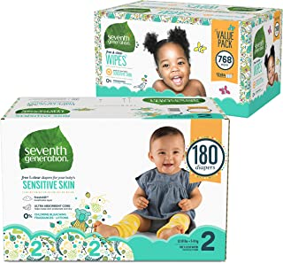 Seventh Generation Baby Diapers for Sensitive Skin, Animal Prints, Size 2, 180 count (Packaging May Vary) and Baby Wipes, Free & Clear with Flip Top Dispenser, 768 count