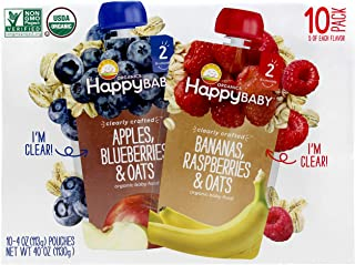Happy Baby Clearly Crafted Stage 2 Variety Pack Organic Baby Food, 2 Flavor, 10 Pouches