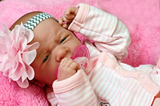 """Reborn Baby Girl Doll 14"""" inches Preemie La Newborn w/ Beautiful Handmade Accessories Anatomically Correct Washable Berenguer Real Realistic Soft Vinyl Alive Life Like Pacifier"""