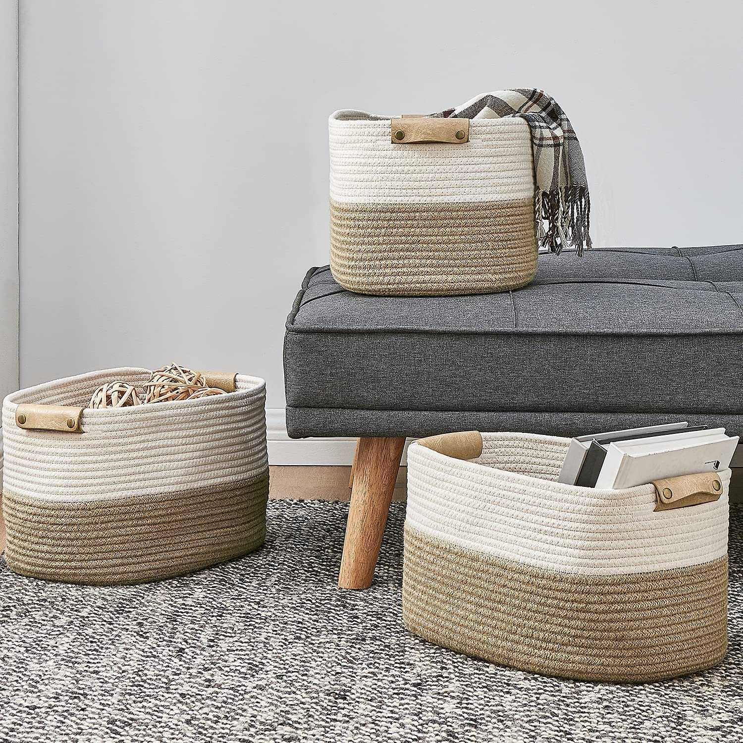 Discount is also underway Truly Lou Cotton Rope Storage depot Basket Woven Decorative of 3 Set